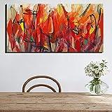 ganlanshu Quadro Senza Cornice Pittura astratta Floreale di Grande Formato su Tela Digitale pittura Rossa Home Decor Foto moderna60X120cm