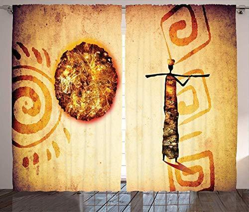ZZZXX Cortinas Tapestry Impresión Cultural del Patrón Tribal Africano 170x145Cm Cortinas Opacas Térmicas Aislantes De Salón Y Dormitorio Moderno 2 Piezas (170x145 cm)