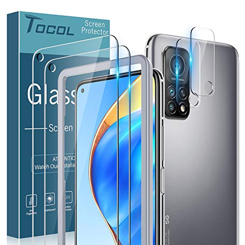 TOCOL 4 Stück 2 Stück Panzerglas kompatibel mit Xiaomi Mi 10T 5G/10T Pro 5G und 2 Stück Kamera Panzerglas 9H Panzerglasfolie Blasenfrei Positionierungsrahmen Blasenfre