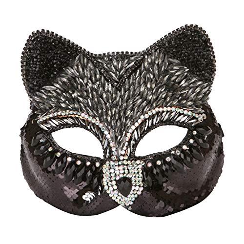 TOYANDONA Máscara de Media Cara Disfraz Veneciano Máscara de Diamante Zorro Gato Máscara Facial Disfraz Accesorio para Fiesta de Disfraces de Carnaval Cosplay (Negro)