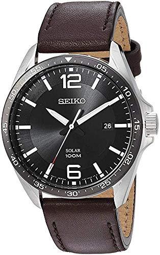 Seiko Herren Analog Solar Uhr mit Leder Armband SNE487P1