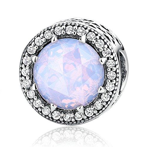 Lily Jewelry Radiant cuori con tasto opalescente cristallo rosa e CZ in argento Sterling 925, adatto per Pandora braccialetti europei