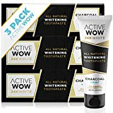 Active Wow Activated Charcoal Toothpaste - Teeth Whitening Formula with Organic Coconut Oil & Xylitol (3 PACK)