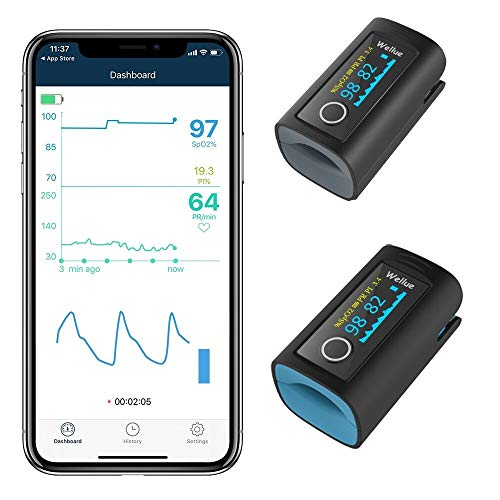 Pulsossimetro con APP per adulti e bambini, Monitoraggio della saturazione dell'ossigeno per la saturazione dell'ossigeno nel sangue della frequenza cardiaca (include custodia e cordino)