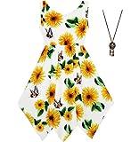 Sunny Fashion Robe Fille Tournesol Papillon Mouchoir Ourlet Partie Plage Collier Robe d'été 10 Ans