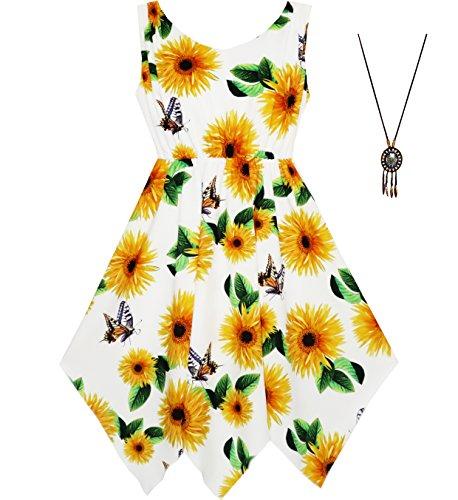 Sunny Fashion Vestido para niña Estampado de Flores Hanky Hem con Collar 7-14 años