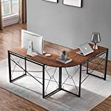 PRITI - Corner Desk Folding Table Writing Computer Desk L-Shaped Home Office Desk Industrial Study Table, Brown