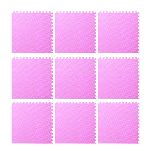 9pcs Foam Floor, Gym Flooring Mat Exercise Mats P uzzle Eva Floor Tiles Foam Exercise Mats, 11.81x11.81x0.47inch, For Play Rooms, Exercise Rooms(Pink)