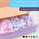 24 Pack of Safety Glasses (24 Protective Goggles in 6 Different Colors) Crystal Clear Eye Protection - Perfect for Construction, Shooting, Lab Work, and More! 6 Included Colors