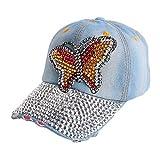 QEERT Chapeau Nouveau Design Grand Papillon Mixte Strass Perle beauté Femmes Fille Femme nouveauté Chapeau Denim Casquette de Baseball Chapeau