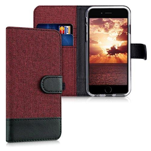 kwmobile Carcasa Compatible con Apple iPhone 6 / 6S - Funda de Tela y Cuero sintético Tarjetero Rojo Oscuro/Negro