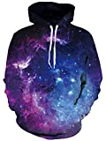 Uideazone Space Collection Men Women All Over Galaxy Print Hoodie Sweatshirt Casual Pullover Hooded Jacket
