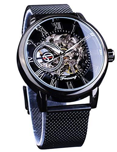 Forsining - Reloj de pulsera de esqueleto mecánico Staempunk con diseño retro, transparente