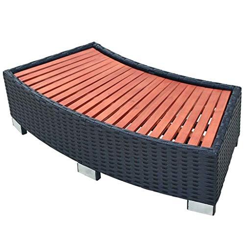 vidaXL Spa Step Poly Rattan 92x45x25cm Black Hot Tub Bathing Pool...