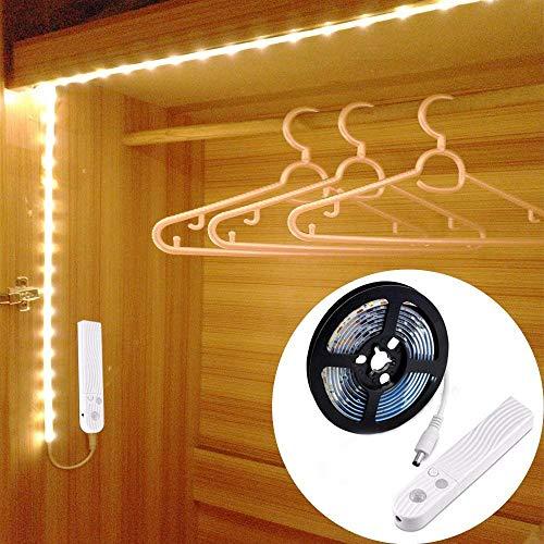 Luci notturne 90LED 150cm Striscia di luce, luce notturna a LED per guardaroba con sensore di movimento per armadio da cucina del bagno in corridoio [4000K bianco caldo]