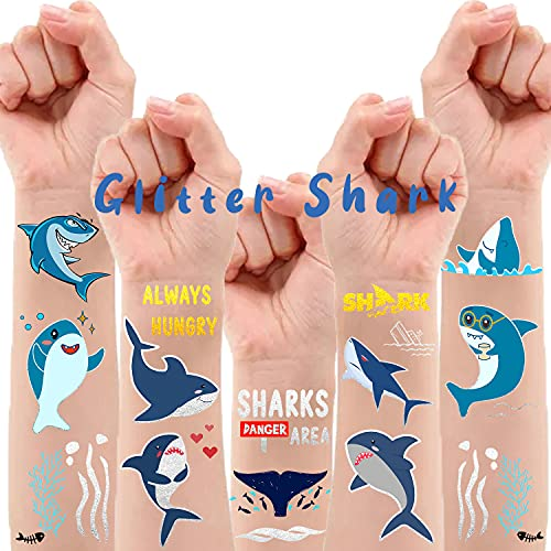 34 Styles Metallic Glitter Shark Temporary Tattoos for Kids, Shark Ocean Theme Birthday Decorations Party Supplies Favors, Shark Fake Tattoos Stickers Game Gift Bag for Boys Girls