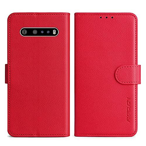 FMPCUON Handyhülle Kompatibel mit LG V60 Hülle Leder PU Leder Tasche,Flip Hülle Lederhülle Handyhülle Etui Handytasche Schutzhülle für LG V60,Rot
