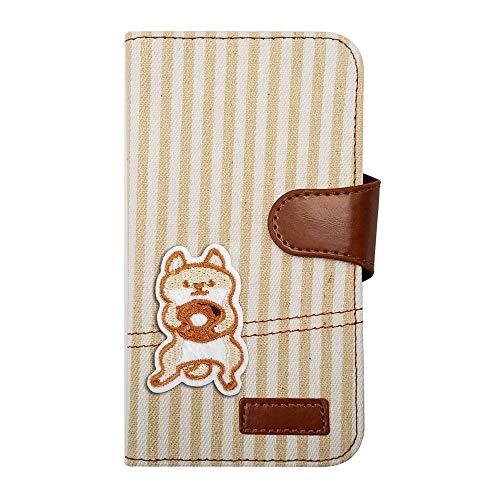 【moimoikka】 Galaxy A30 SCV43 ギャラクシーA30 ケース 手帳型 柴犬 動物 キャラクター かわいい 柴 犬 しば アニマル ヒッコリー(ベージュ) ワッペン 刺繍 生地 布 ファブリック カード収納 フリップ カバー スマート