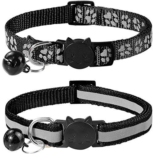 Taglory Reflektierend Katzenhalsband mit Sicherheitsverschluss und Glöckchen, 2-Stück Verstellbar Halsband Katze Kitten, 19-32cm Schwarz