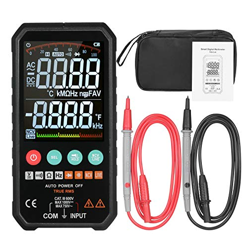 KKmoon Digital Multimeter 6000 Zählt echtes RMS Hochgenaues Smart AC/DC-Spannung Widerstand Kapazität Frequenzkontinuität Diode NCV-Test Super Slim 3,3-Zoll-LCD Display Dateholdfunktion Taschenlampe