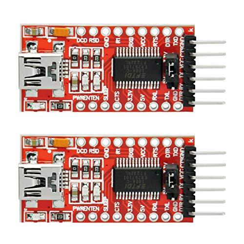 Gikfun FT232RL 3.3V 5.5V FTDI Mini USB to TTL Serial Converter Adapter Module DIY Kit for Arduino Mini Port (Pack of 2pcs) AE1186x2_1