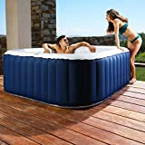 ASAB Inflatable Bubble Jet Hot Tub Garden Heated Jacuzzi SPA 4 Person Portable Square Complete Set