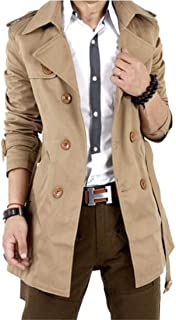 mens slim double breasted trench coat