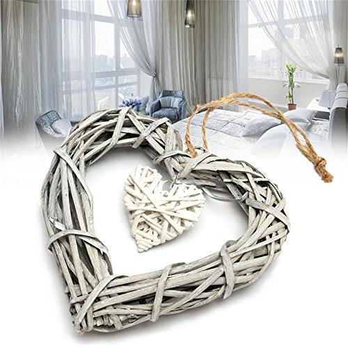Corazón de mimbre Vanker para colgar, guirnalda de decoración para hogar, bodas y fiestas