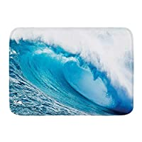 VAMIX バスマット 風呂マット 強力な巨大波が海上でカールした後、サーフィン用ウォーターチューブが登場 足拭きマット 吸水 速乾 滑り止め 浴室 洗面所 脱衣所 風呂 台所 キッチン玄関マット(45x75cm)