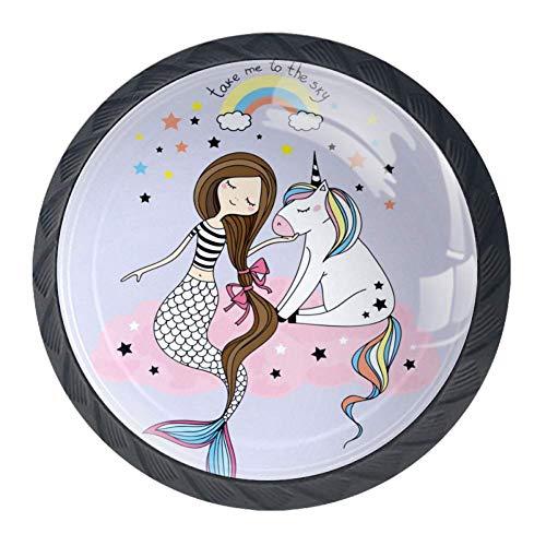 Einhorn Meerjungfrau Mädchen Möbelknöpfe Set Schrankknopf Kinderzimmer Möbelgriffe Kinder Möbelknöpfe 4 Stück für Möbel Schublade Schrank 3.5x2.8cm