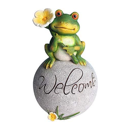 Estatua de Adorno de Jardín 9,5 pulgadas de pie lindo de la rana en la piedra for la escultura decoración de jardín Estatua animal Animal interior o exterior Arte para patio,césped,regalo jardín inaug