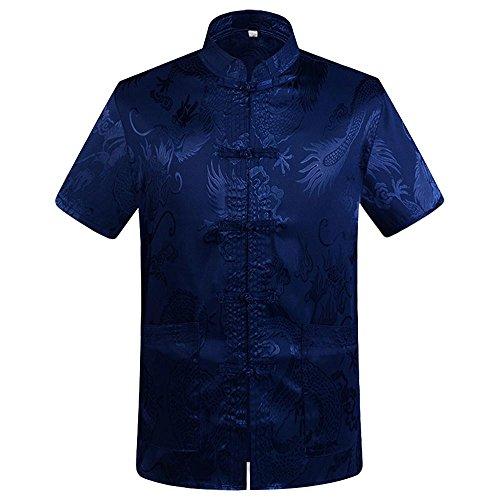 G-like Chinesische Kleidung Drachen Jacke - Traditionelle Tangzhuang Kostüme Kampfkunst Kung Fu Tai Chi Qigong Kurze Ärmel Stehkragen Uniform für Männer Frauen (Blau, L)