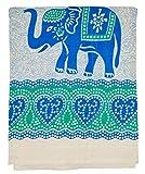 Goods4good Decoración con Diseño de Mandala Elefantes Ideal Cubre Sofa Colcha Cama Pareo Playa Picnic Familiar Grande 210x240cm 100% Algodón (Turquesa y Azul 1)