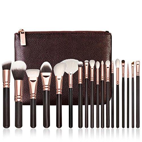 Pinceax Maquillage BZLine, 18Pcs Pinceaux Maquillage Professionnel pour les Poudres, Anticernes, Contours, Fonds de Teints, Mélanges et Eyeliner - Noir
