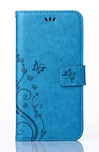 Cover per Samsung Galaxy S6G9200, poliuretano, lavorato a sbalzo con farfalla e fiore, Ecopelle PLASTICA Pelle, blue, Samsung Galaxy S5 Mini