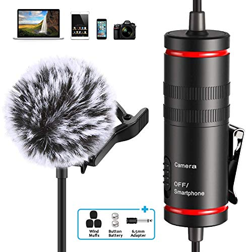 Professional Lavalier Microphone for iPhone, Camera, PC, Android, Omnidirectional Lapel Mic with Furry Windscreen Muff Metal Body, Portable Video Recording for Youtube, Conference, Vlogging