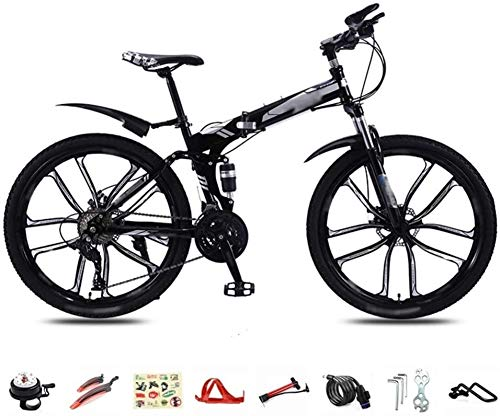 PLYY 30-Speed Folding Mountain Bike, 26-inch Lightweight Commuter Bike, MTB Dual Disc Brake Full Suspension Bike (Color : Black)