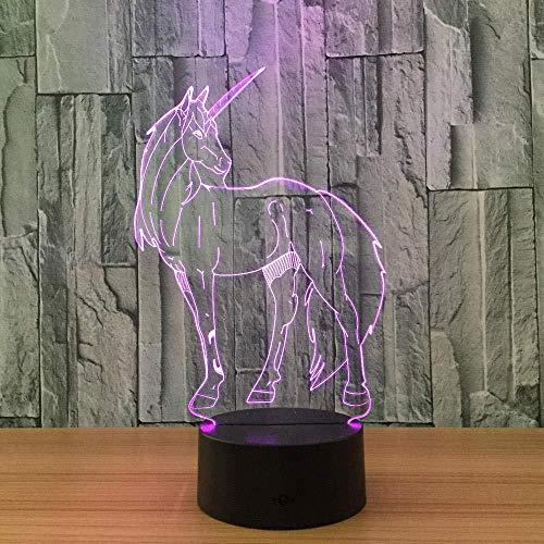 Luz nocturna 3D con control remoto Unicornio Luz nocturna que cambia de 7 colores Lámpara de escritorio de mesa LED 3D para niños_7 colores cambiables.