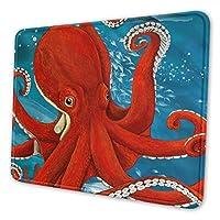 赤 たこ 章魚 海洋 オーシャン マウスパッド ゲーミング オフィス最適 高級感 おしゃれ 防水 耐久性が良い 滑り止めゴム底 ゲーミングなど適用 マウスの精密度を上がる