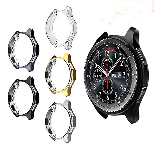 UBOLE Case for SAMSUNG Gear S3, Shock-proof and Shatter-resistant Protective shell TPU Cover Case for Samsung Gear S3 Frontier/Classical and Galaxy Watch 46mm Smartwatch (5 PACK)