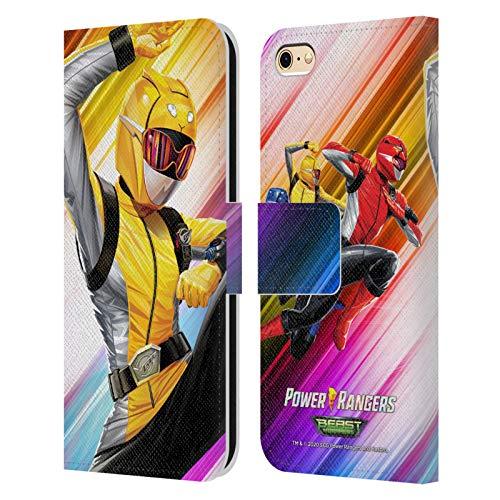 Head Case Designs sous Licence Officielle Power Rangers Beast Morphers Ranger Jaune Personnages Coque en Cuir à Portefeuille Compatible avec Apple iPhone 6 / iPhone 6s