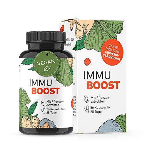 ImmuBoost® Kapseln | 56 Kapseln | 1 Tag 2 Kapseln | Immunsystem stärken für Erwachsene | 2 Wochen Immunkur mit Vitamin C & Zink | Mit Ingwer Acerola & Magnesium | Abwehrkräfte | vegan & hochdosiert