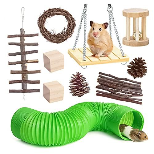 Juguetes masticables para hámster, juguetes y accesorios de chinchilla de madera natural, juguetes de conejo, conejo, hámster, gerbos, conejos, sirios, conejos, 10 unidades