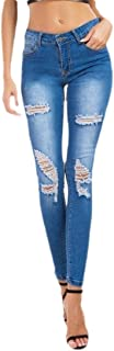 Fashion Women's Denim Juniors Distressed Slim Fit Stretchy Skinny Jeans