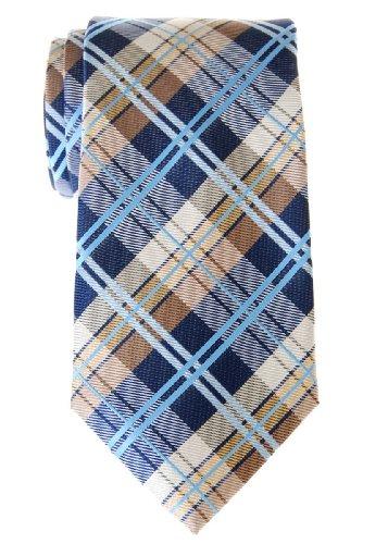 Retreez Cravate élégante tissée en tartan pour homme - Bleu marin et Kaki