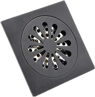 ステンレス製シャワー床排水 黒の床のバスルーム、キッチン、バスルームのタイルに床排水銅の浴室の床ドレン排水下水排水 ステンレス鋼の正方形のバスルームの床ドレン (色 : ブラック, サイズ : 10 x 10 x 4.5 cm)