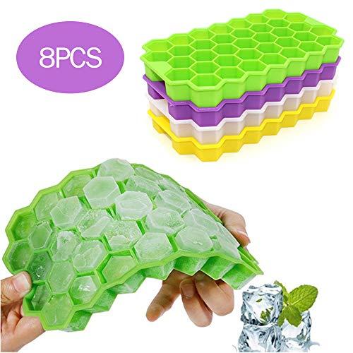 POWER BANKS Eiswürfelschalen, 37 Eiswürfel Kieselgel in Lebensmittelqualität Flexible Eiswürfelformen für gekühlte Getränke, Whisky und Cocktails,8PCS