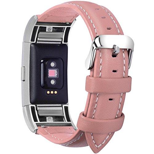 Fullmosa Compatible avec Bracelet Charge 2,Compatible avec Charge 2 Bracelet Sport avec Connecteurs Métal,Bracelet Connectée Femme Cuir, Rose