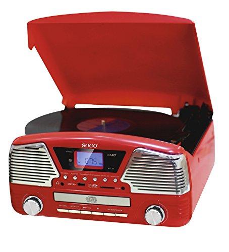 Sogo SS-8575 Tocadisco, color rojo