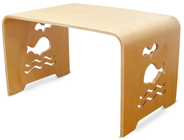 空港送料スタンドMAMENCHIサイズ大き目な子供用木製テーブル クジラ
